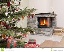 christmas tree by the fireplace royalty free stock images image