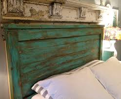 distressed headboard turquoise full size by toolshedoriginals