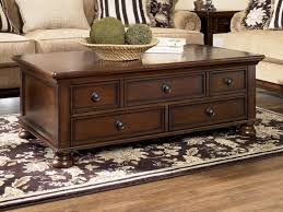 Storage Living Room Tables Coffee Tables Brown Rectangle Oak Rustic Storage Coffee Table And