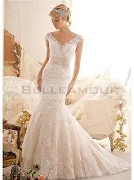 robe de mariã e dentelle dos de mariée dos nu perles sirène longue ivoire dentelle ceinture