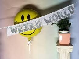 weird world glittering fringe banner fringe wall hanging