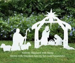 teak isle outdoor nativity shepherd with sheep figure