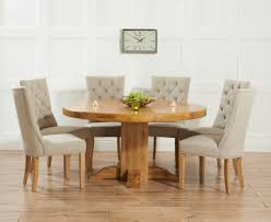 chair dining table round extending oak reclaimed wood and 6 chairs