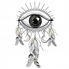 illustration of all seeing eye with ethnic feathers