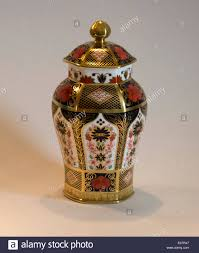 a lidded ginger jar in the 1128 imari pattern made by royal crown