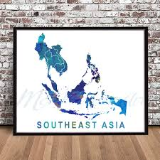 Blank Southeast Asia Map by Southeast Asia Map Print Watercolor Painting Styled Poster