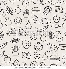 seamless pattern food different food silhouette icons seamless pattern food clipart