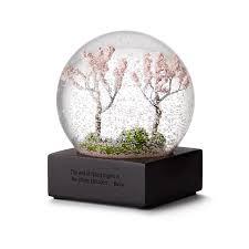 cherry blossom snow globe miniature flower petal uncommongoods