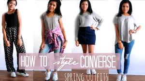 how to style white converse sneaker lookbook 4 youtube