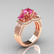 rings pink stones images French 14k rose gold three stone white and pink sapphire wedding jpg