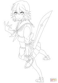 ryuko matoi from kill la kill manga coloring page free printable
