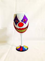 cartoon wine glass creepy clown inspired hand painted wine glass