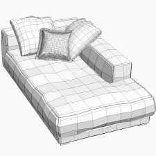 orange sofa daybed 3d model cgtrader