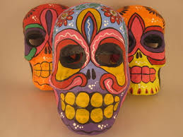 of the dead skull mask paper mache ornaments