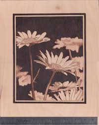 hand crafted daisy woodburn wall hanging art by woodburn by marsha