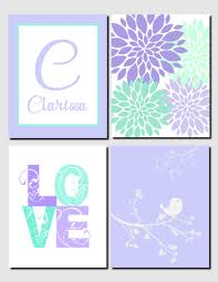 Personalized Nursery Decor Lavender Mint Purple Wall Wall Initial Name