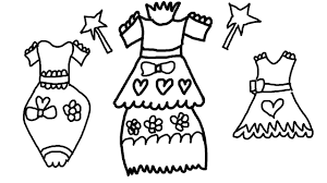 coloring page of pretty dresses to color for children to learn