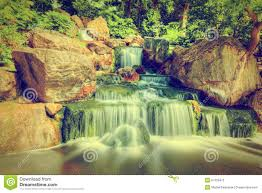 waterfall in japanese garden holland park in london uk stock