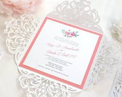 coral wedding invitations coral wedding invite etsy