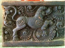 asian carved wood foo panel antique chinoiserie