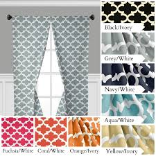quatrefoil curtains lattice trellis window treatments navy