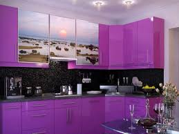 Bright Colored Kitchens - purple kitchen cabinets modern kitchen color schemes purple