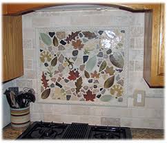 Decorative Tiles For Kitchen Backsplash A Small Order Of Leaf Tiles Mixed With Rocks Can Create A Unique