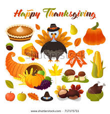 happy thanksgiving day symbols design stock vector