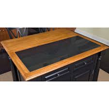 Black Distressed Kitchen Island by Home Styles Monarch Slide Out Leg Kitchen Island With Granite Top