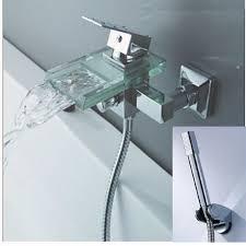 Tub Faucet Hand Shower Aliexpress Com Buy Luxury Glass Spout Bathroom Tub Faucet Hand