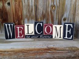 Welcome Home Decor Welcome To Our Home Vinyl Lettering Wood Blocks Home Decor
