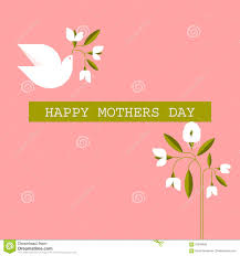 pastel colored mothers day cards with dove spring flowers stock
