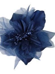 flower for hair navy faux silk organza flower hair clip brooch blue velvet vintage