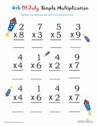easy multiplication worksheets simple multiplication for 4th of july firecrackers worksheet
