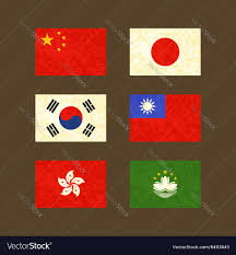Flag Of South Korea Flags Of China Japan South Korea Taiwan Hong Kong Vector Image