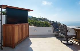 outdoor tv lift cabinet this california roof deck includes a pop up outdoor tv and hidden