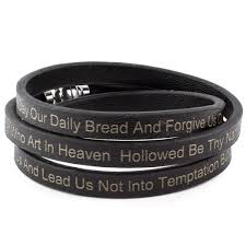 black prayer bracelet images Shop lord 39 s prayer stainless steel leather wrap bracelet 6mm jpg