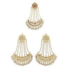 Buy Kundan Embellished Dangler Earrings Buy Kundan Chand Bali Gold Plated Dangler Earrings Passa Jhoomar