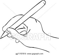 vector stock hand holding pen in writing position stock clip