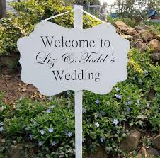 custom wood welcome wedding yard sign decoration personalized