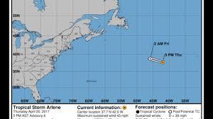 tropical storm arlene 2017 nhc forecast cone tracks youtube