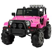 jeep rubicon 2017 pink jeep wrangler pink 12v battery ride on car truck rc remote control