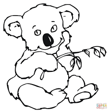 cute koala with eucalyptus leaves coloring page free printable