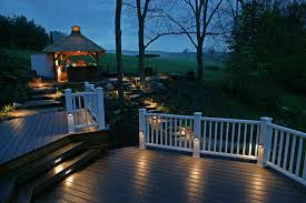 Outdoor Lighting Ideas For Patios Lighting Outdoor Lighting Pros And Cons With White Wood Railing