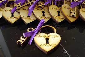 custom wedding favors wood wedding favors heart lock and key