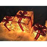 northlight set of 3 lighted glitter gift box present