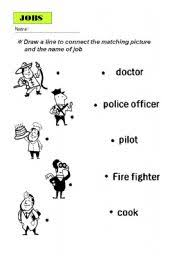 english worksheets matching job and picture