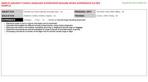 Resume Handling Aircraft Cargo Handling Supervisor Resume Sample