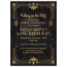 art birthday invitations 50th birthday invitation roaring 20s art deco black gold
