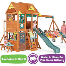 Backyard Discovery Winchester Playhouse Swing N Slide Winchester Wood Swing Set Toys
